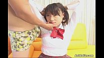 Horny Japanese teen in school uniform sucks cock Uncensored
