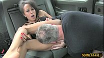 Scandalous Hungarian traveler gets a free hot cum in the taxi