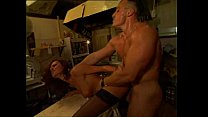 Sexy cook banged by a muscly man in the kitchen