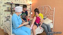 Bf assists with hymen examination and nailing of virgin teen