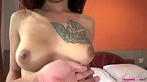 Last was normal position, her boobs bounces well. At the end, creampie