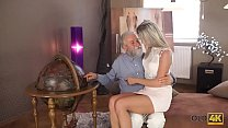 OLD4K. Middle-aged teacher and student have goo...