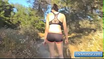 Sweet young brunette teen amateur Cadey goes naked for a jog and jiggle her butt cheeks