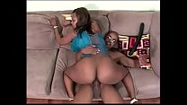 Horny black chick with enormous tits gags on thick cock then fucks صورة