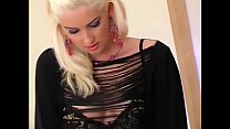 Blonde teases i n thigh high lingerie and pant ngerie and panties