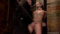 Masked master gives crotch rope to sub