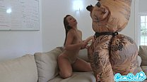 big ass latina teen chased by lesbian loving TREX on a hoverboard then fucked Image