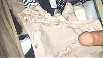 jacking off with her hot aunt crown's panties hidden without her knowing