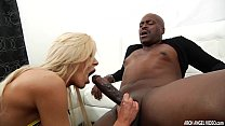 Busty Nina Elle sucks and rides monster black cock thumb