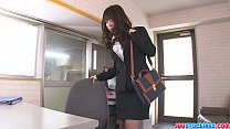 Office babe Chinatsu Kurusu gives an asian blowjob at work