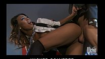Stunning ebony babe Lelani Leanne takes a huge cock from behind