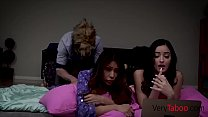 Stepbro fucks sis & her bestie while having a sleep over - Download mp4 XXX porn videos