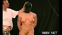 Naked wife stands fastened up and endures enormous breast bondage pornhub video