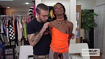 Cute Ebony spinner meets guy online for rough anal Preview