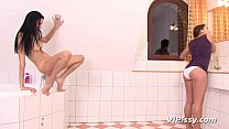 Pee hungry lesbians trade golden showers thumbnail