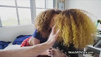 Ebony besties sharing a big white dick ⁃ partypounding.com thumbnail