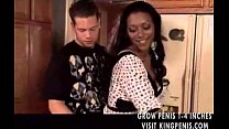 Black milf seduces him in the kitchen