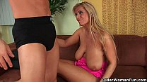 Gilf Adele with her big boobs strips off and ge...