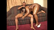 Big black honey Jolie gets body oiled then sucks and fucks sweet black dick