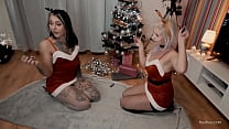 Christmas FFM Awesome Threesome Party with hot Santa girls