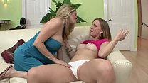 Hot lesbian scene with blonde and brunette babes in action