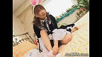 Little Asian maid gets her sweet ass spanked and fucked