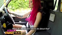 Female Fake Taxi Busty squirting babe fucked and facialised on drivers seat