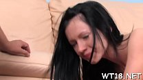 Neat chick gets nailed from behind then rides huge one-eyed monster صورة