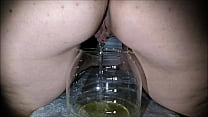 Big Ass and Big Shaved Pussy Pissing from Behind