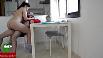 He gets horny while she's studying, and they fuck on the table.SAN07