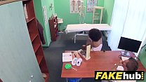 Fake Hospital Doctor gives sexy ebony Brazilian student a hard fucking preview image