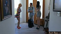 Teen beauty squirted with stepbrothers jizz