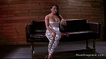 Tied Up Busty Brunette Deep Throat Gagged And Fucked
