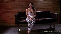 Tied up busty brunette deep throat gagged and fucked preview image