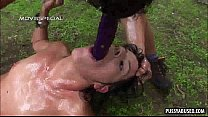 Brunette sucks cock and get fucked anally outdoors