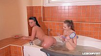 Lesbo lover Vicky Love & Mary Wet fill their pinks with sex toys in the tub thumbnail
