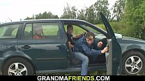 Two dudes pick up and fuck hot grandma in the f...