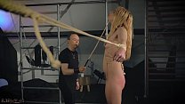 Tied up her ands and punisher the teen slave until she screams