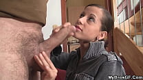 Petite brothers girlfriend riding his big cock