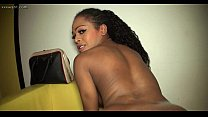 Ebony shemale gets ass massage and anal sex