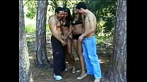 Sunburnt latin  babes Lorena and Ferreira are not against to fool around with couple of swinging both ways guys in the wood