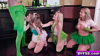 Party babes lined up for a huge cock and take turns swallowing!