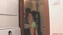 Teen goes topless in closet