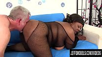 Busty Black Plumper Alanna Lust Makes an Old White Guy Go Wild
