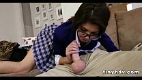 Nerdy teen with glasses gets nailed 8 92