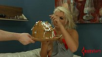 Blond decorates gingerbread house with enema squirts and eats it preview image