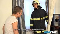 RAWEURO Firefighter Justin Brown Seduced By Facial Bareback