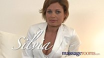 Massage Rooms Hot MILF enjoys big oily fingers deep in her juicy wet pussy
