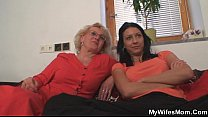 Mom-in-law rides him and wife comes in - VideoMakeLove.Com