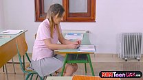 busty teacher fucks female student in class with a strapon, stella cox webcam thumbnail
